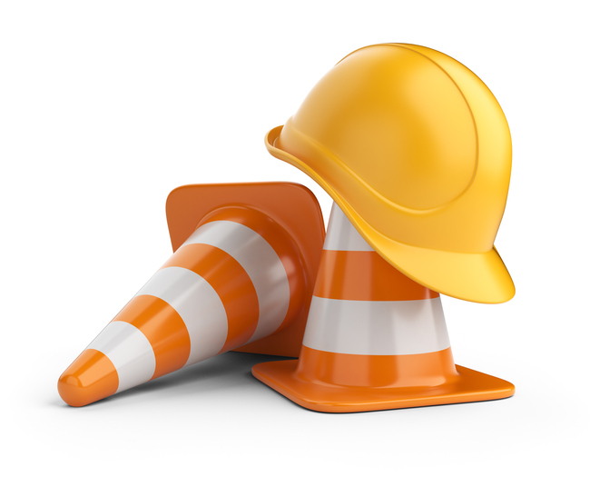 photo of construction hat and cone
