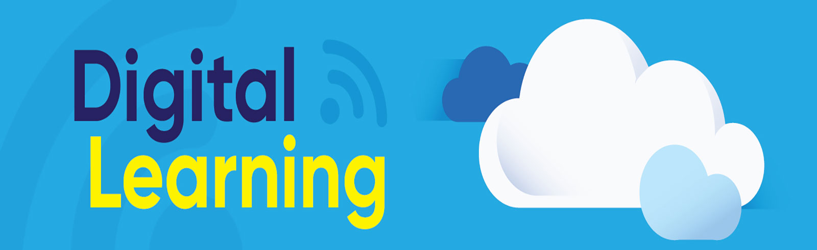 Digital Learning text on light blue background with clouds