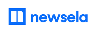 Newsela logo - blue newspaper with text