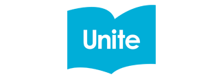 Unite logo on blue book