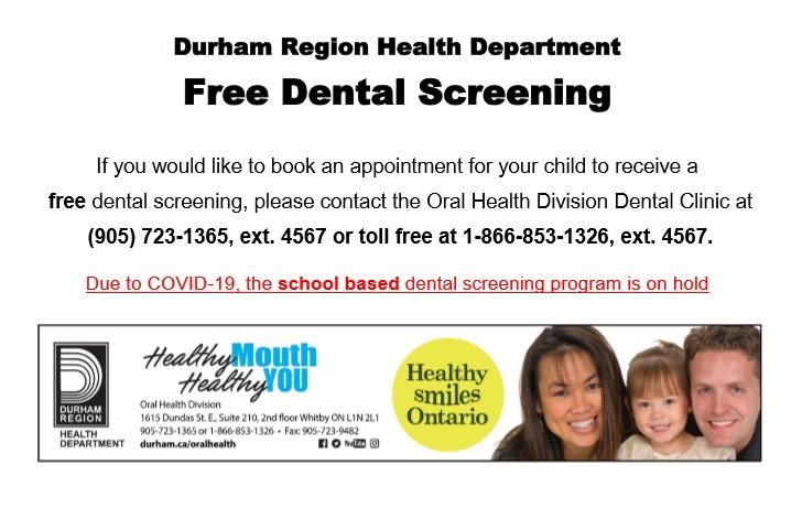 Durham Region Free Dental Screening