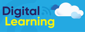 title:  Digital learning on light blue background with clouds