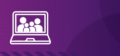 purple distance learning background - family group in laptop screen